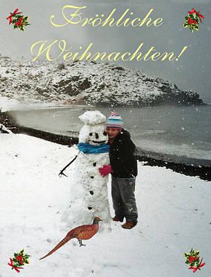 Pheasant Mixed Media - German Christmas Card Eftalou Beach Merry Christmas by Eric Kempson