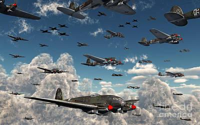 Digital Art - German Heinkel He 111 Bombers Gather by Mark Stevenson