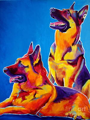 German Shepherd Painting - German Shepherd - Eiko And Erin Crop by Alicia VanNoy Call