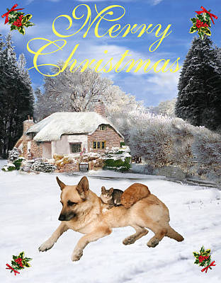 Friend Holiday Card Mixed Media - German Shepherd Holiday by Eric Kempson