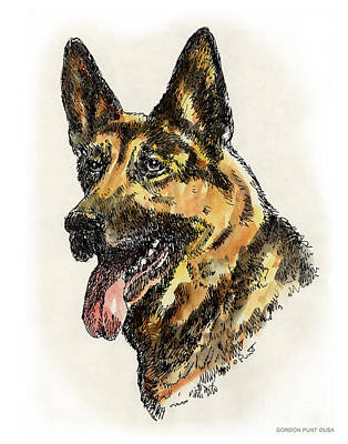 Painting - German-shepherd-portrait by Gordon Punt