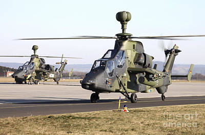 German Tiger Eurocopters At Fritzlar Art Print by Timm Ziegenthaler