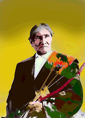 Art Print featuring the mixed media Geronimo by Charles Shoup