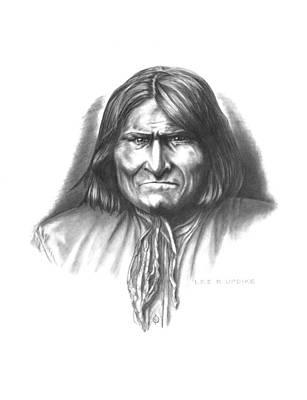 Apache Warrior Drawing - Geronimo by Lee Updike