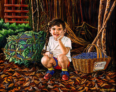 Oil Painting - Gerry's Grapes by Carmen Del Valle