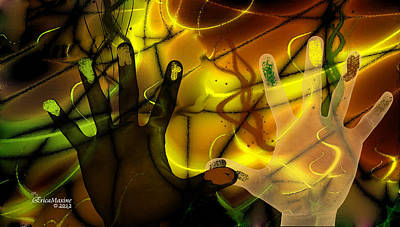 Digital Art - Get Together - Fingerpainting by Ericamaxine Price