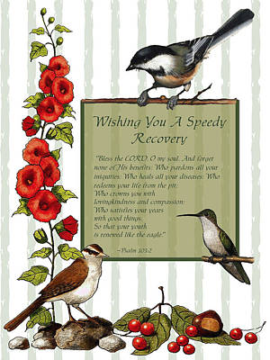 Drawing - Get Well Card With Birds And Flowers by Joyce Geleynse