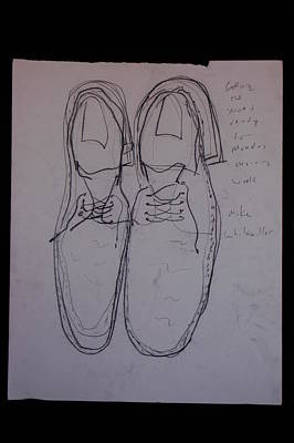 Santa Monica Drawing - Getting Shoes Ready For Monday Morning Work by Michael Vincent Whitemiller