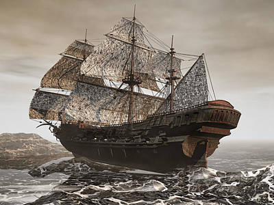Ghost Ship Of The Cape Art Print by Lourry Legarde