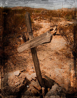Rural Decay Digital Art - Ghost Town Cross by Sonja Quintero