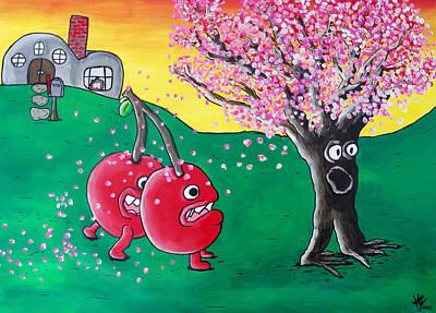 Intense Painting - Giant Cherries Chasing Cherry Tree by Jera Sky