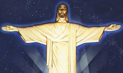 Giant Figure Of Christ Art Print