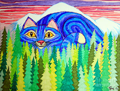 Mountain Drawings - Giant Purple Striped Cat  by Nick Gustafson