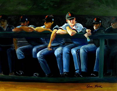 Tim Lincecum Painting - Giants Dugout by Char Wood