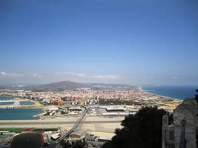 Photograph - Gibraltar Bay Airport Runway Mediterranean Sea View by John Shiron