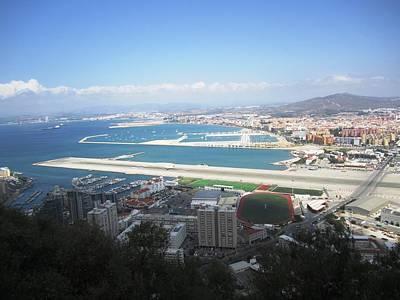 Photograph - Gibraltar Bay Airport Runway View Uk Territory by John Shiron