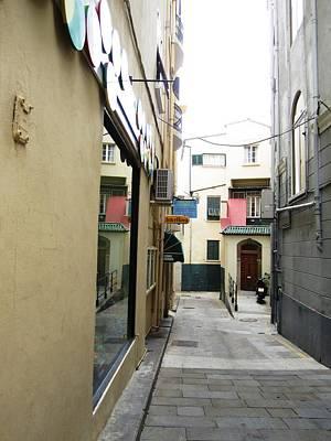 Photograph - Gibraltar Cute Side Street Stone Paved Uk by John Shiron