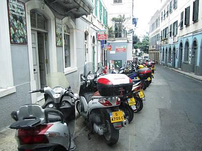 Photograph - Gibraltar Motorcycle Bike Row Side Street by John Shiron