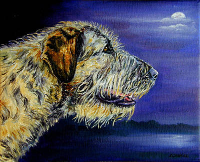 Wolfhound Painting - Gideon's Moon - Irish Wolfhound by Lyn Cook