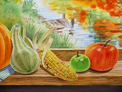 Window Bench Painting - Gifts From Fall by Irina Sztukowski