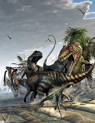 Parasaurolophus Digital Art - Giganotosaurus And Parasaurolophus by Kurt Miller