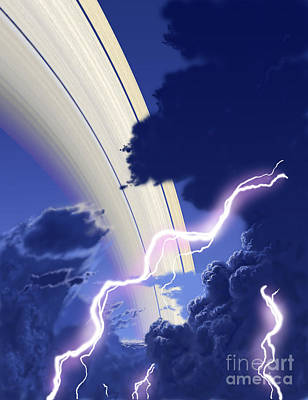 Gigantic Storms Rage In Saturns Cloudy Art Print by Ron Miller