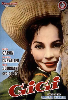 1958 Movies Photograph - Gigi, Leslie Caron, 1958, Poster Art by Everett