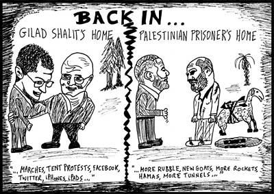 Hostage Drawing - Gilad Shalit And Palestinian Prisoner Back Home Cartoon by Yasha Harari