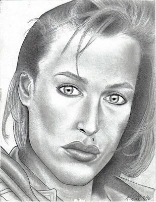 Gillian Anderson Art Print by Rick Hill