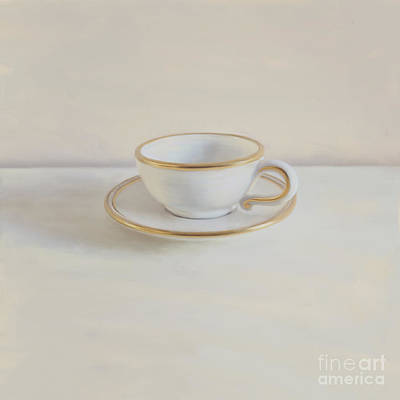 Gilt Cup On White Marble Art Print by Paul Grand