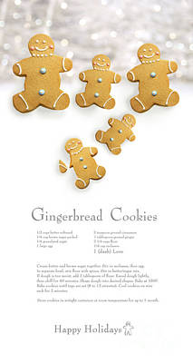 Sweet Bread Photograph - Gingerbread Men Cookies Against Cookie Receipe by Sandra Cunningham