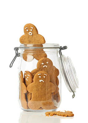 Cookie Jar Wall Art - Photograph - Gingerbread Men Escape by Amanda Elwell