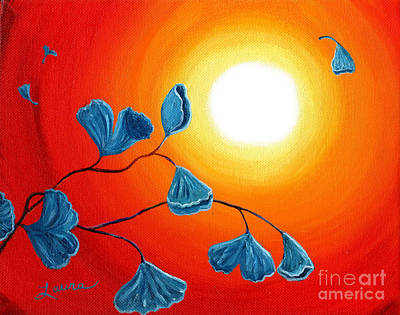 Red Abstract Painting - Ginkgo Leaves In Bright Sunset by Laura Iverson