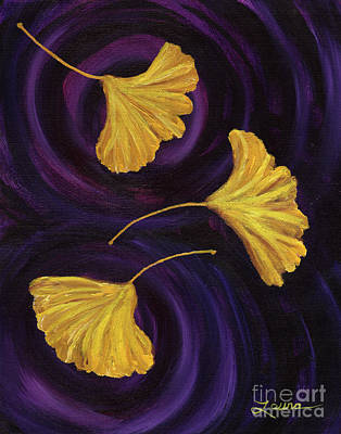 Painting - Ginkgo Leaves In Swirling Water by Laura Iverson