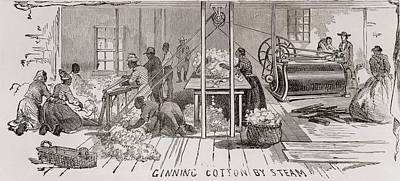 Ginning Cotton By Steam Powered Gin Art Print by Everett