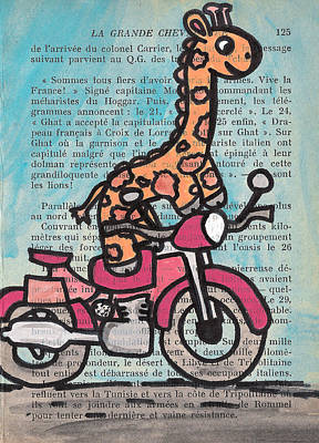 Giraffe On A Motorcycle Art Print by Jera Sky