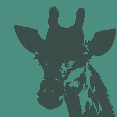Photograph - Giraffe Silhouette Gray Aqua by Ramona Johnston