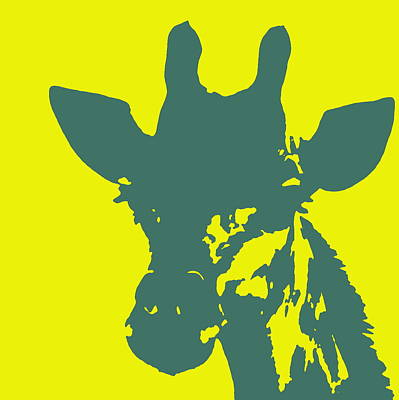 Photograph - Giraffe Silhouette Yellow Aqua by Ramona Johnston