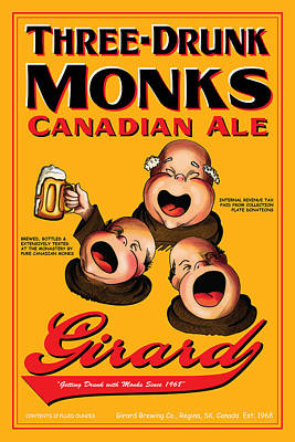 English Ale Drawing - Girard Three Drunk Monks by John OBrien