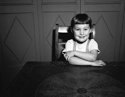 Girl (5-5) Sitting At Table, (b&w), Portrait Art Print by George Marks