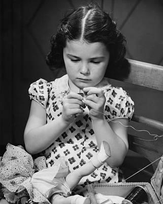 Girl (6-7) Threading Needle, (b&w) Art Print by George Marks