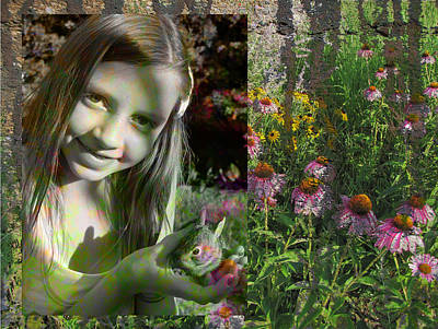 Digital Art - Girl And Bunny With Flowers 1 by Anita Burgermeister