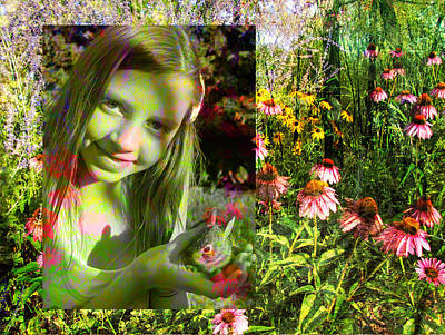 Digital Art - Girl And Bunny With Flowers 2 by Anita Burgermeister