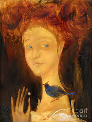 Painting - Girl And The Blue Bird by Svetlana and Sabir Gadzhievs