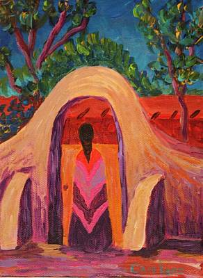 Painting - Girl At Gate by Carolene Of Taos