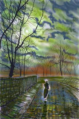 Girl By Moonlight Art Print