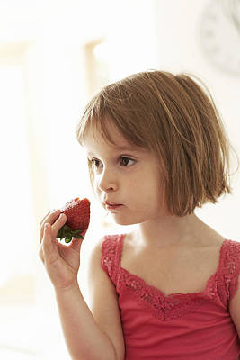 Girl Eating A Strawberry Art Print