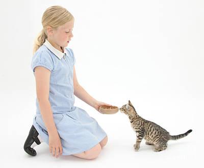 Pet Care  - Girl Feeding Kitten by Mark Taylor
