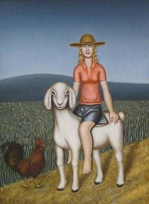 Girl Goat And Chicken Art Print by Thomas Jeffreys