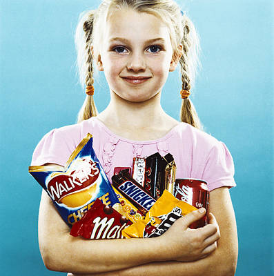 Girl Holding Crisps And Chocolate Art Print by Kevin Curtis